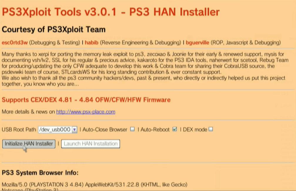 Cara merubah PS3 OFW menjadi Han HFW 4.84 menggunakan PC