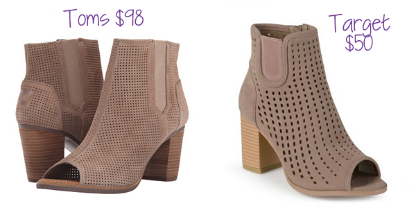 The open toe bootie with a stacked heel is popular this fall. Journee has a $50 alternative to the $98 Toms version!