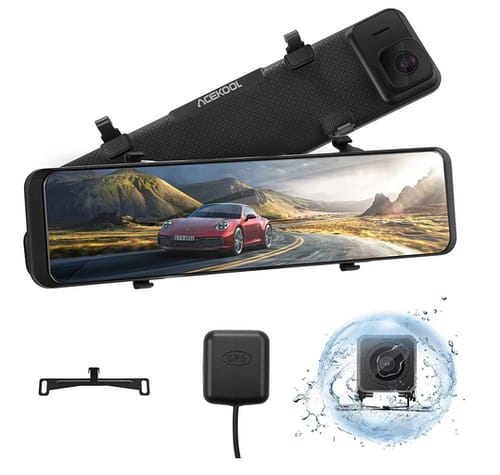 Acekool 4K Mirror Dash Cam for Cars with Voice Control