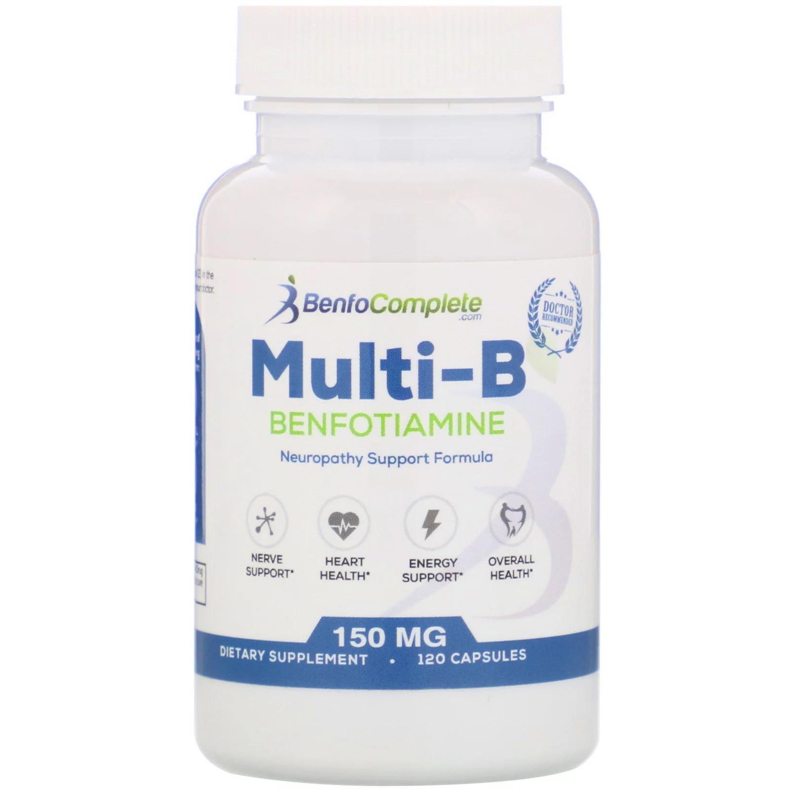 Benfotiamine Inc., Поддерживающая формула Multi-B при нейропатии, 150 мг, 120 капсул