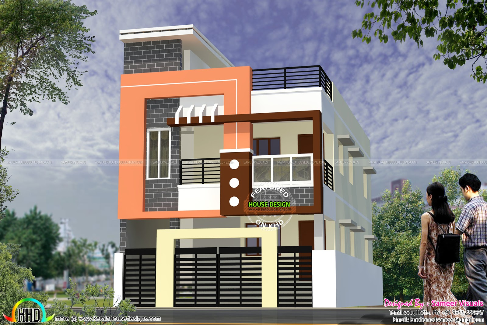 Modern south indian home design 1900 sq ft kerala home for Modern house designs 2017