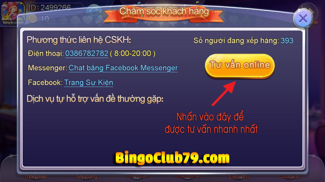 Liên hệ game Bingo Club, BingoClub79
