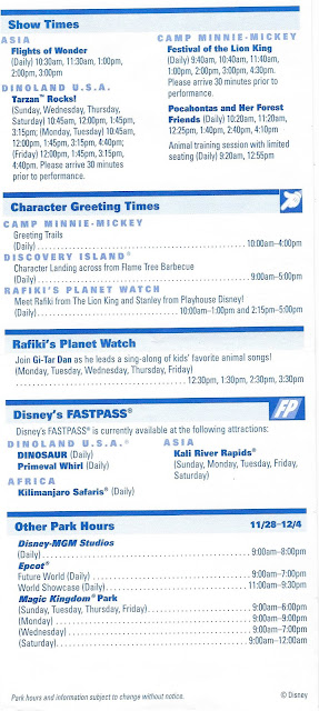 Back Side Disney's Animal Kingdom Times Guide November 28 December 4 2004