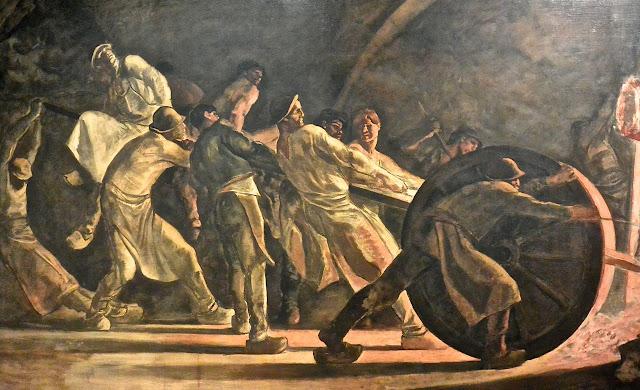 Bruxelles  musées royaux des Beaux-Arts musée Fin du siècle : Constantin Meunier : L'enlèvement du creuset brisé