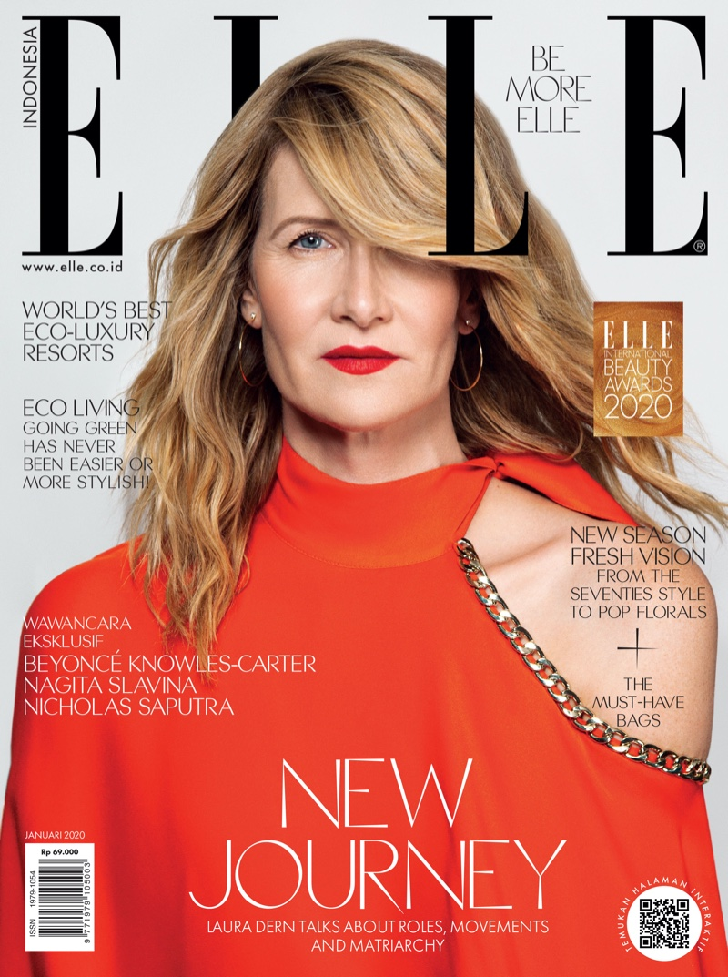 Laura Dern poses for Elle Indonesia January 2020 in sophisticated styles