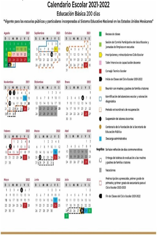 Calendario Escolar 2021 - 2022