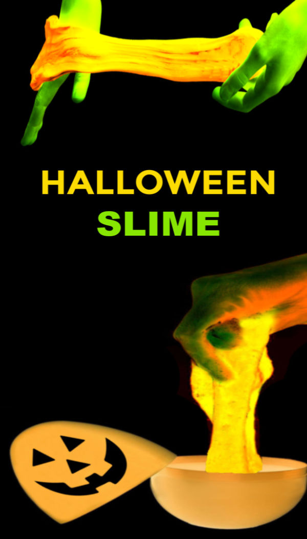 Make Halloween slime that glows-in-the-dark!  Jack-o-lantern slime is easy to make and fun for all ages! #halloween #halloweenslime #halloweenslimerecipe #pumpkinrecipes #pumpkincrafts #pumpkinactivities #pumpkinsensory #pumpkinslime #pumpkinslimerecipeeasy #pumpkinslimeforkids #slimerecipe #slime #glowingslime #growingajeweledrose #activitiesforkids