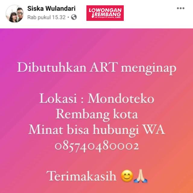Lowongan Kerja ART Mondoteko Rembang