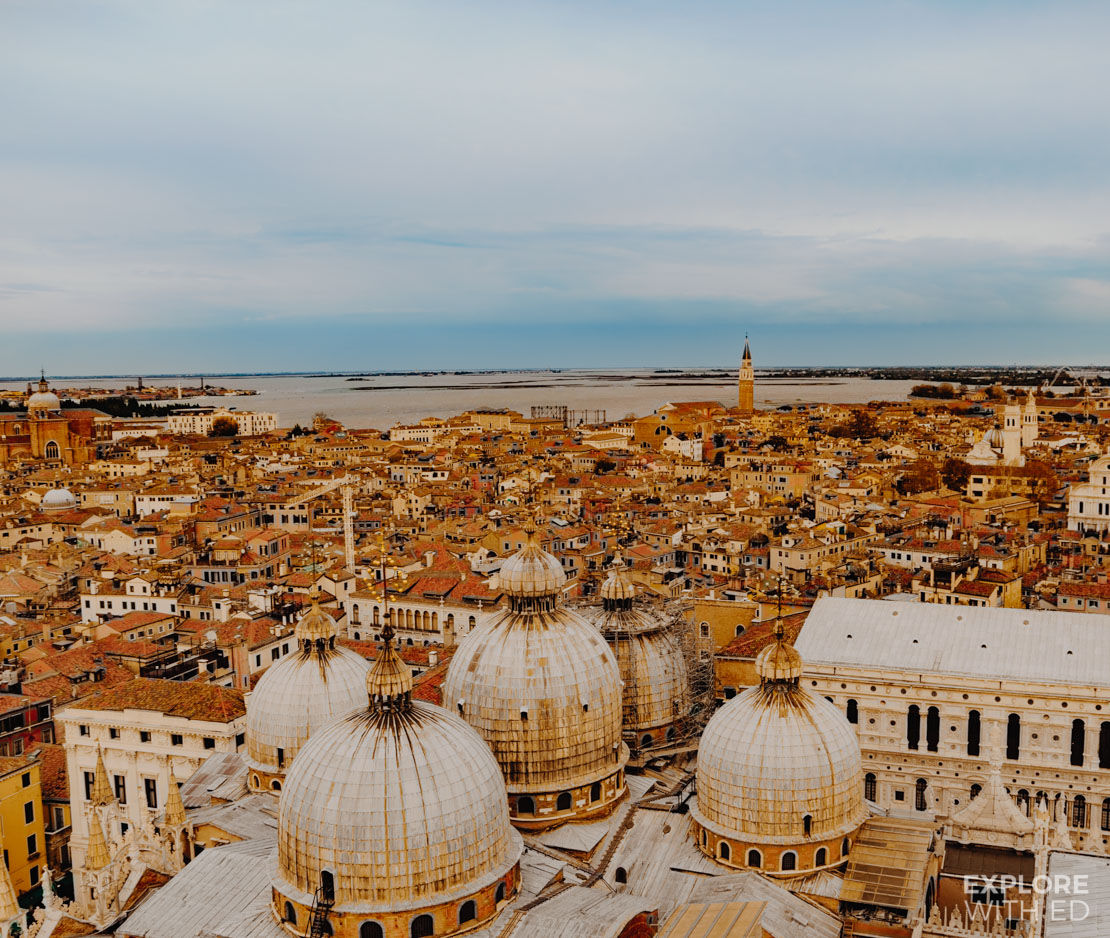 The view from Saint Mark's Bell Tower over the Basilica and Venice