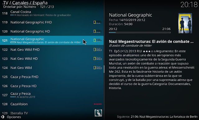Guia EPG canales paquete movistar