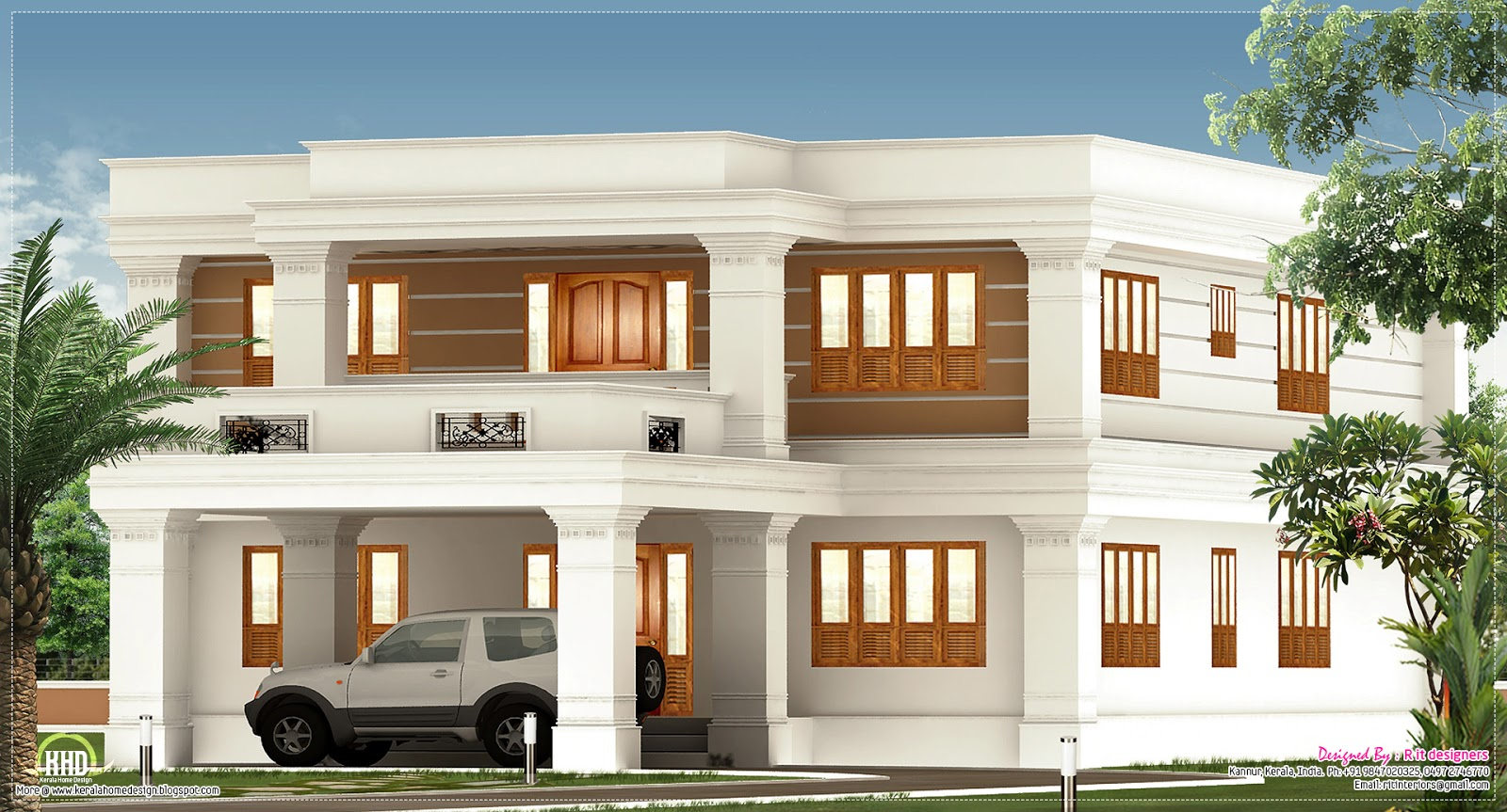 2800 flat roof villa exterior home kerala plans for Most popular flooring in new homes