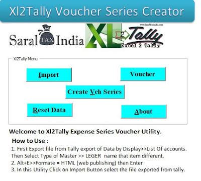 Excel 2 Tally Voucher Series Generator