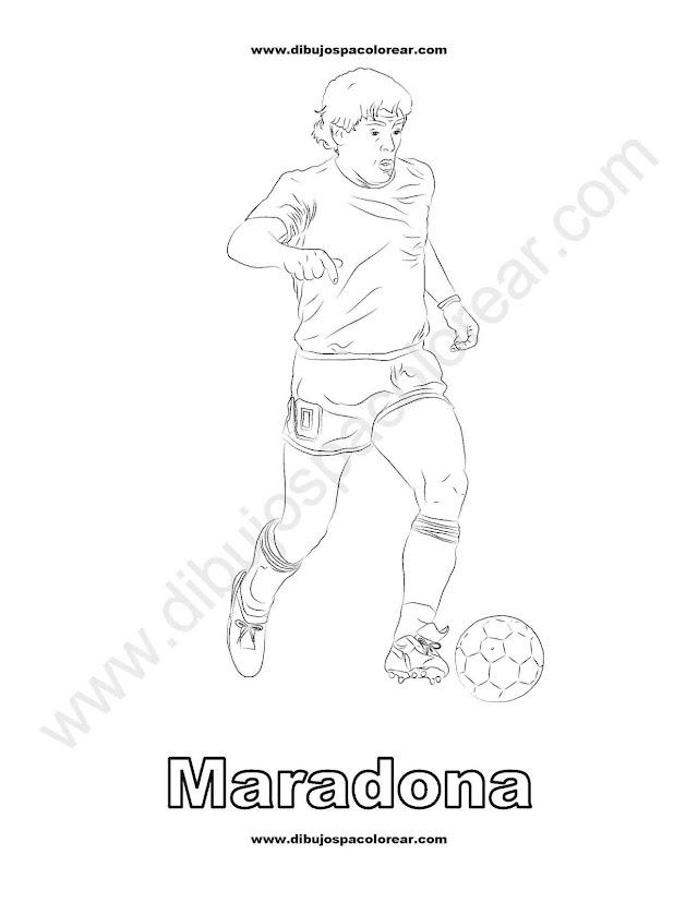 Maradona Futbolista dibujo para colorear