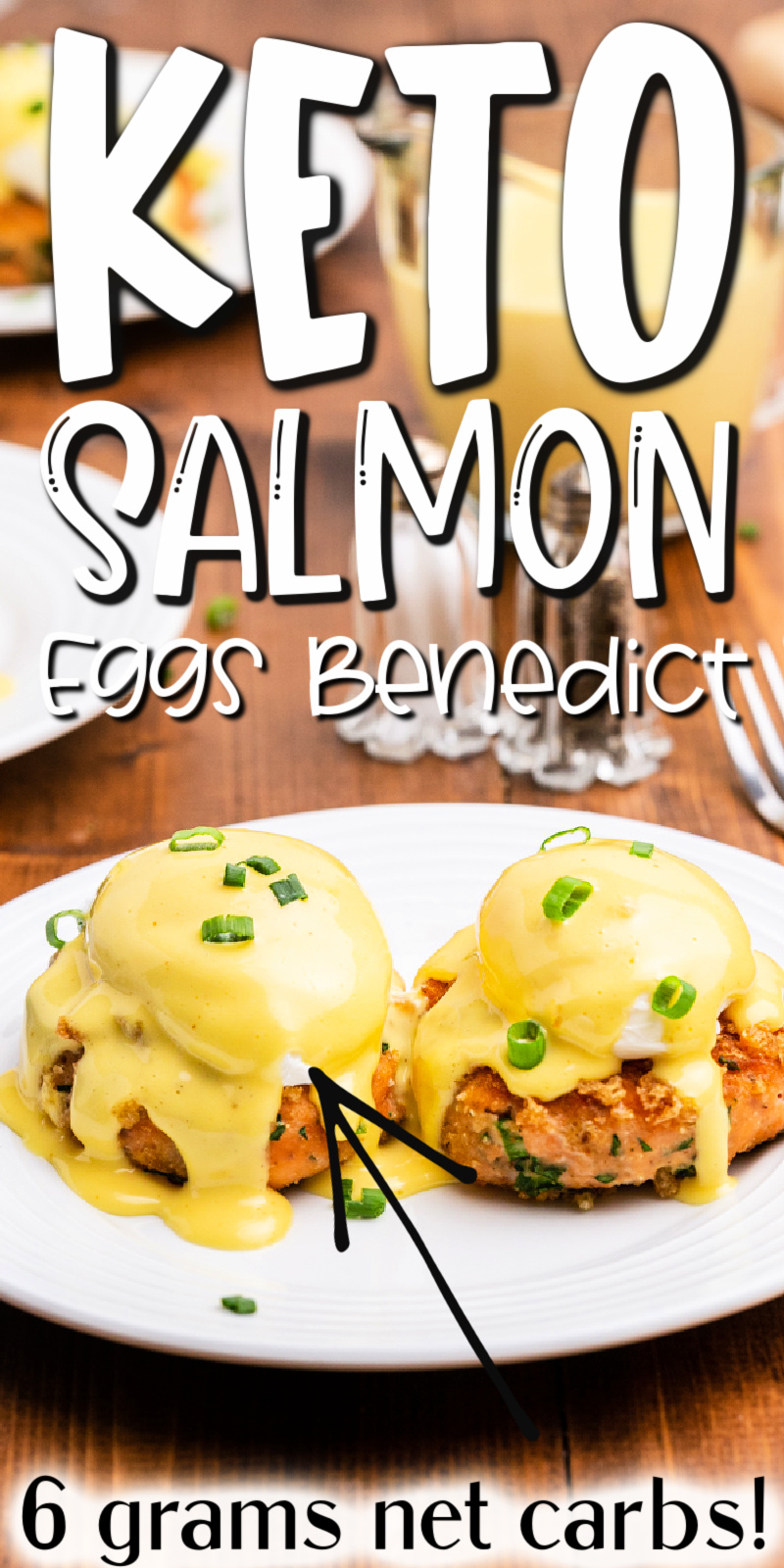 Keto Salmon Eggs Benedict - Breakfast doesn't get much better than this Keto Salmon Eggs Benedict! Crispy salmon cakes topped with perfectly poached eggs, easy blender hollandaise sauce, and fresh chopped chives, even the non-keto peeps will be asking for more! #keto #lowcarb #glutenfree #salmon #fish #eggs #benedict #breakfast #brunch #hollandaise #recipe