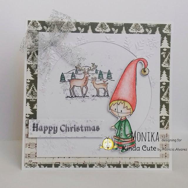 Christmas card using Elf digital stamp