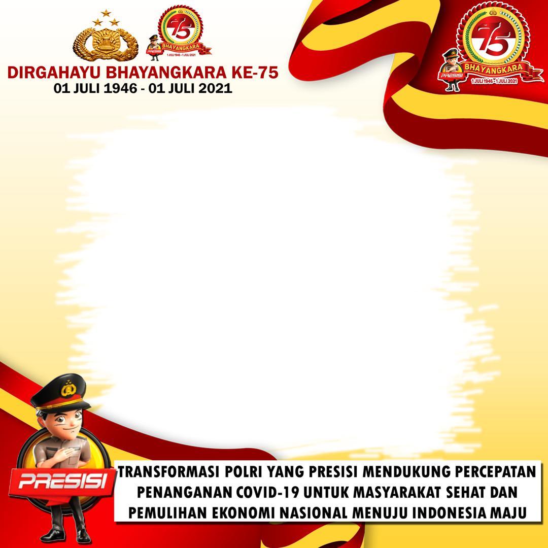 Template Desain Background Bingkai Twibbon Ulang Tahun Bhayangkara ke-75 - Twibbonize