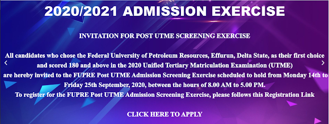 FUPRE Post-UTME Screening Form 2020/2021 is Out [UPDATED]