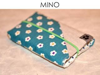 Handytasche Mino aus japanischen Stoffen von Noriko handmade, handgemacht, Einzelstück, Unikat, Design, Handyhülle, Gummiband