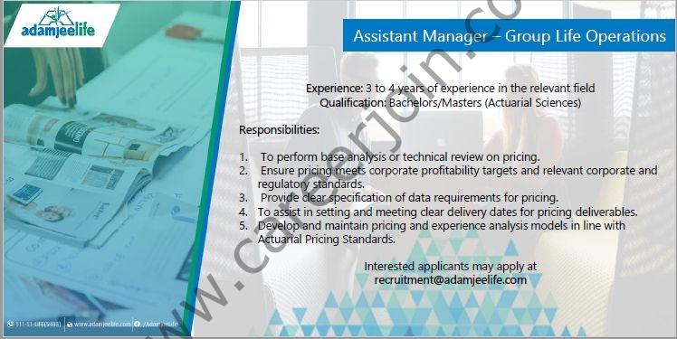 Jobs in Adamjee Life Assurance Co Ltd 2021 For Assistant Manager Post - Adamjee Life Careers - Send CV to recruitment@adamjeelife.com
