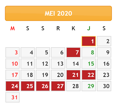 KALENDER BULAN MEI TAHUN 2020
