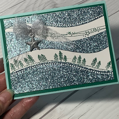 Balm Blue Glimmer Paper Chirstmas Card using Curvy Christmas Stamp Set