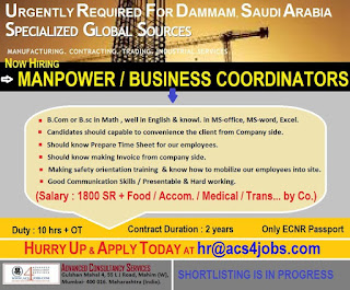 Manpower Business Coordinators for Saudi Arabia