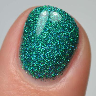 jade holographic glitter nail polish swatch