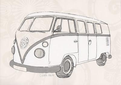 Screenprint Collage of Volkswagen T1 Split Screen Camper Van Micro Bus