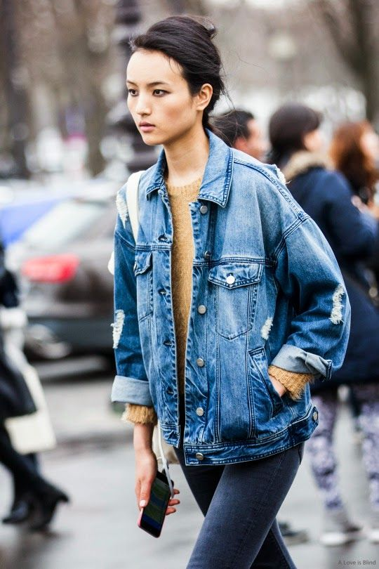 style inspiration the denim jacket  the front row view