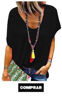 Camiseta Escote V, manga corta, blusca negra mujer