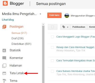 tata letak dasbor blogger