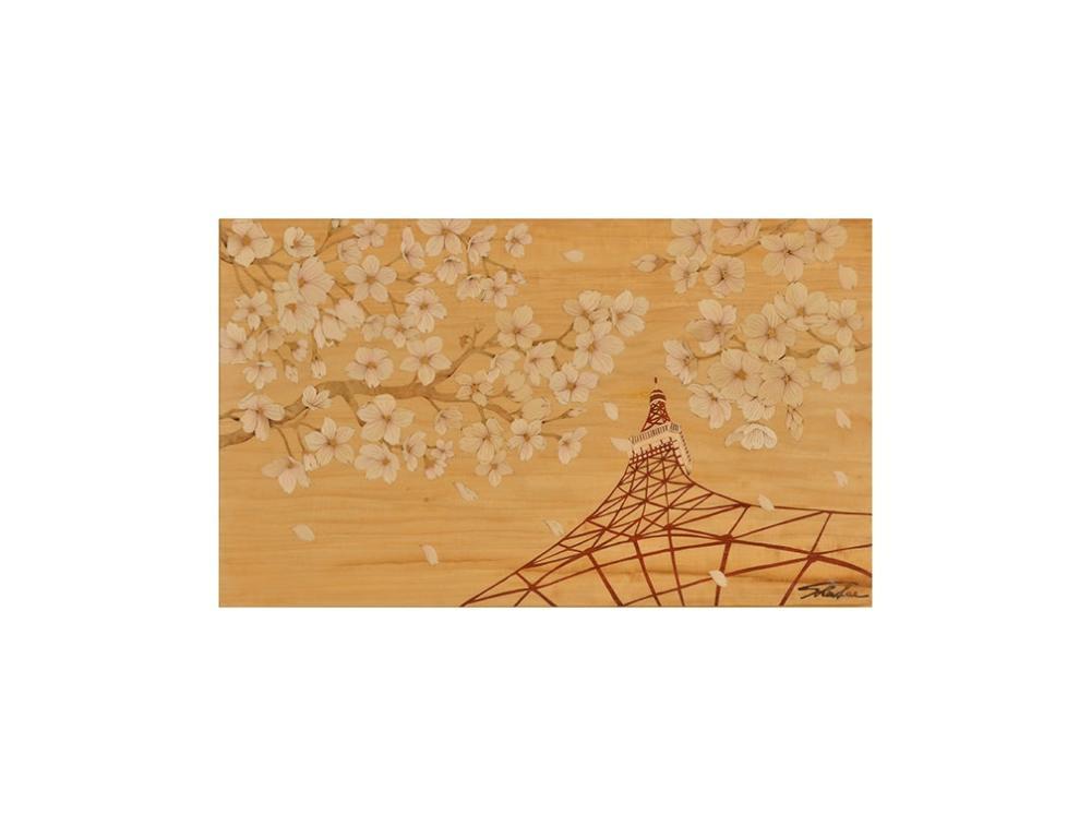 Sandy老師創作理念:「櫻花展嫵媚,春風舞動美,落櫻繽紛,悠遊於東京鐵塔下,靜賞新芽、落瓣,品味春天 最幸福的雅趣。」
