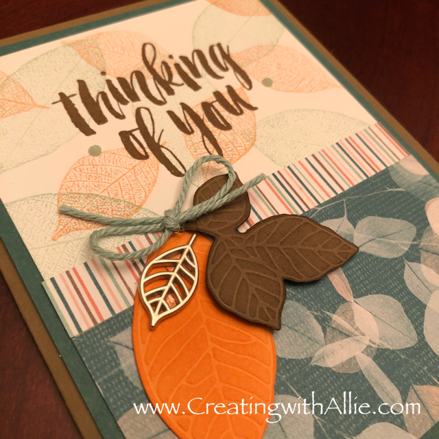 Check out the video tutorial showing you how to make a quick and easy card, where I show you tips and tricks for using Stampin Up's Rooted in Nature stamp setl!  You'll love how quick and easy this is to make!  www.creatingwithallie.com #stampinup #alejandragomez #creatingwithallie #videotutorial #cardmaking #papercrafts #handmadegreetingcards #fun #creativity #makeacard #sendacard #stampingisfun #sharewhatyoulove #handmadecards #friendshipcards
