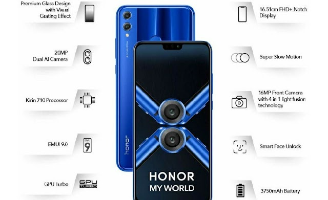 Get Honor 8X (Blue, 4GB RAM, 64GB Storage) @ ₹4000 discount (Steal deal)