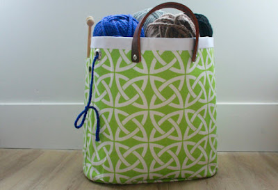 large knitting project storage bag with lime green celtic knots