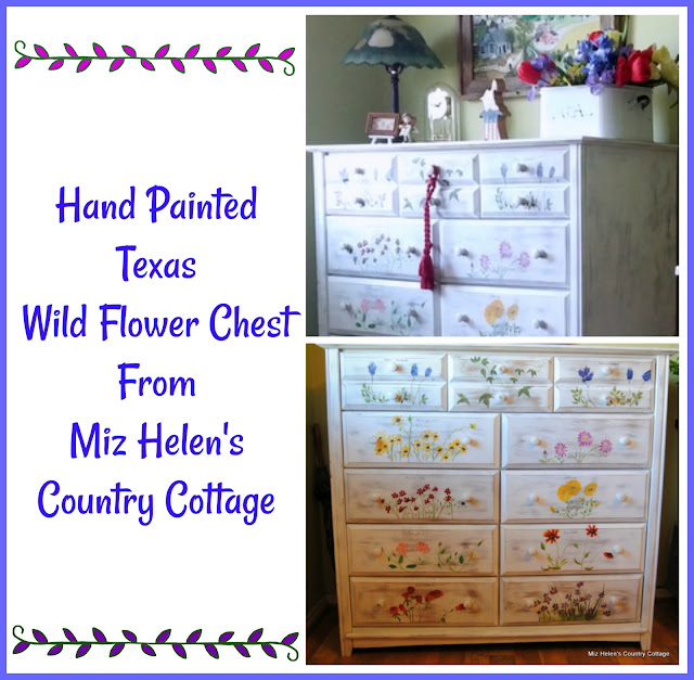 Hand Painted Texas Wild Flower Chest at Miz Helen's Country Cottage