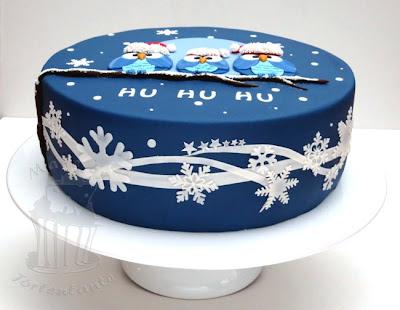 Owl cake eulen fondant torte weihnachten christmas snowflake gumpaste