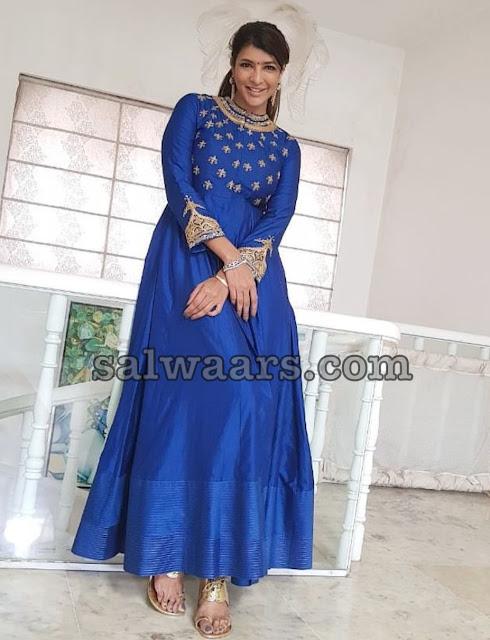 Lakshmi Manchu Blue Silk Salwar Kameez