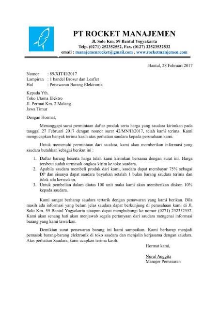 Contoh Surat Penawaran (via: enjineer.com)