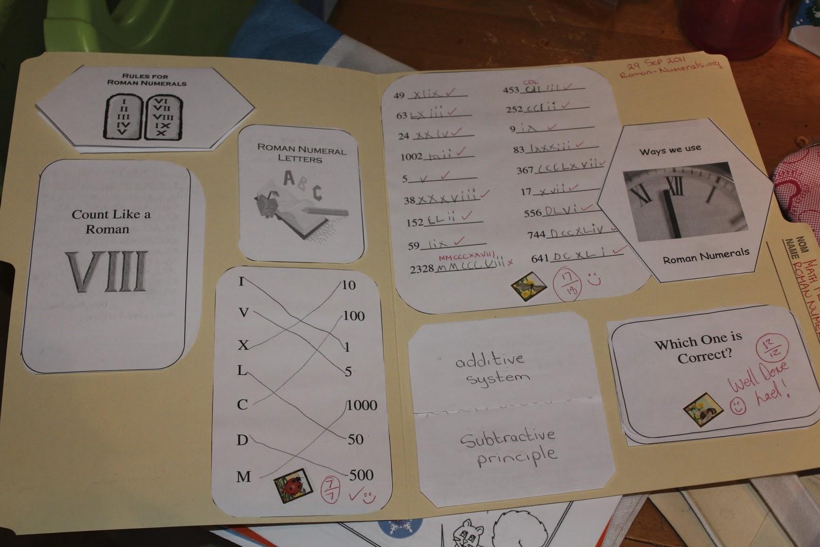 Mouse Tails Roman Numerals Lapbook