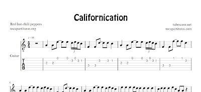 Californication Partitura y Tablatura para Guitarra (Fingering Style)