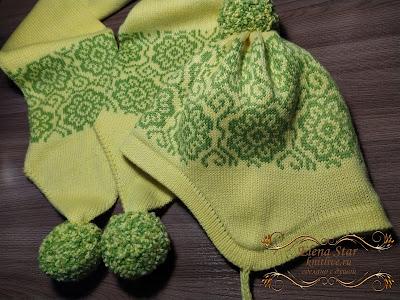 Комплект двойная шапка с ушками и шарфик