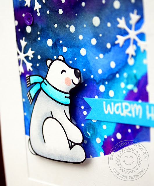Sunny Studio Stamps: Frosty Flurries and Playful Polar Bears Winter Sky Background Card by Vanessa Menhorn
