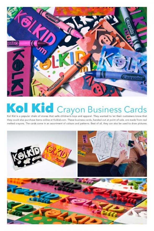 "Business Cards Made From Real Crayons via Toronto""s ds+p For Kol Kid dot Com"