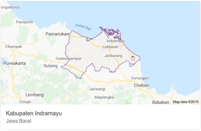 Peta Kabupaten Indramayu Jawa Barat