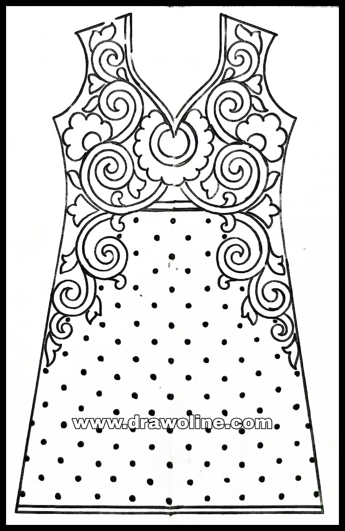Hand embroidery dress design drawing for fashion design/how to draw fashion designer Dress/kameez design drawings