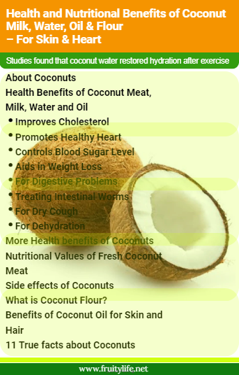About Coconuts   Health Benefits of Coconut Meat, Milk, Water and Oil  Improves Cholesterol Promotes Healthy Heart Controls Blood Sugar Level Aids in Weight Loss For Digestive Problems Treating Intestinal Worms For Dry Cough For Dehydration More Health benefits of Coconuts  Nutritional Values of Fresh Coconut Meat  Side effects of Coconuts  What is Coconut Flour?  Benefits of Coconut Oil for Skin and Hair  11 True facts about Coconuts