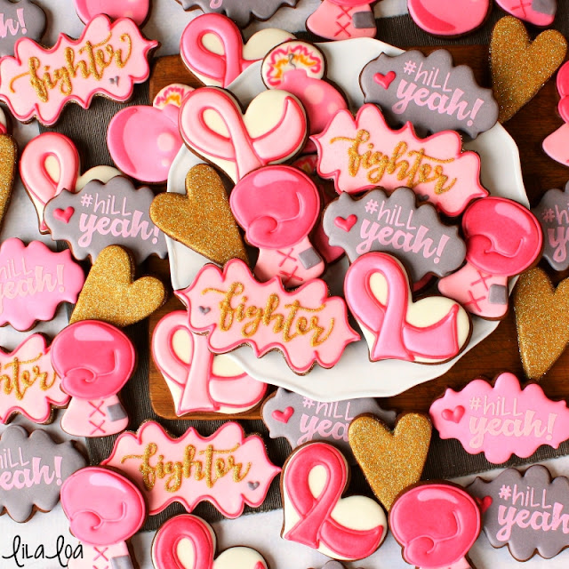 Breast Cancer Awareness decorated sugar cookies: boxing glove, ribbon, hearts