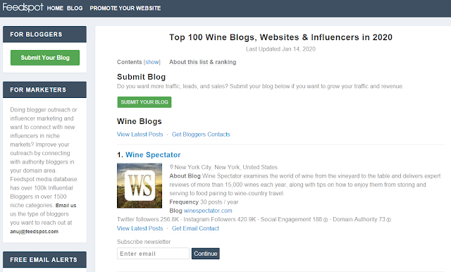 Feedspot Top 100 Wine Blogs, Websites & Influencers in 2020  (screenshot courtesy of https://blog.feedspot.com )