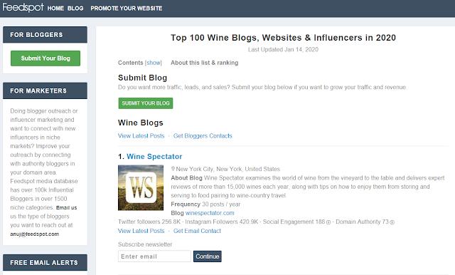 Feedspot Top 100 Wine Blogs, Websites & Influencers in 2020  (screenshot courtesy of https://blog.feedspot.com )